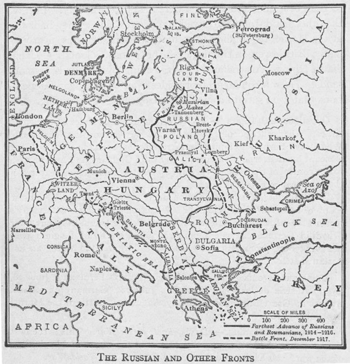Map of the Eastern (Russian) Front in World War I