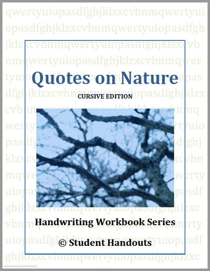 Nature Quotes Copywork Workbooks - Free to print (PDF files), available in print manuscript or cursive script.