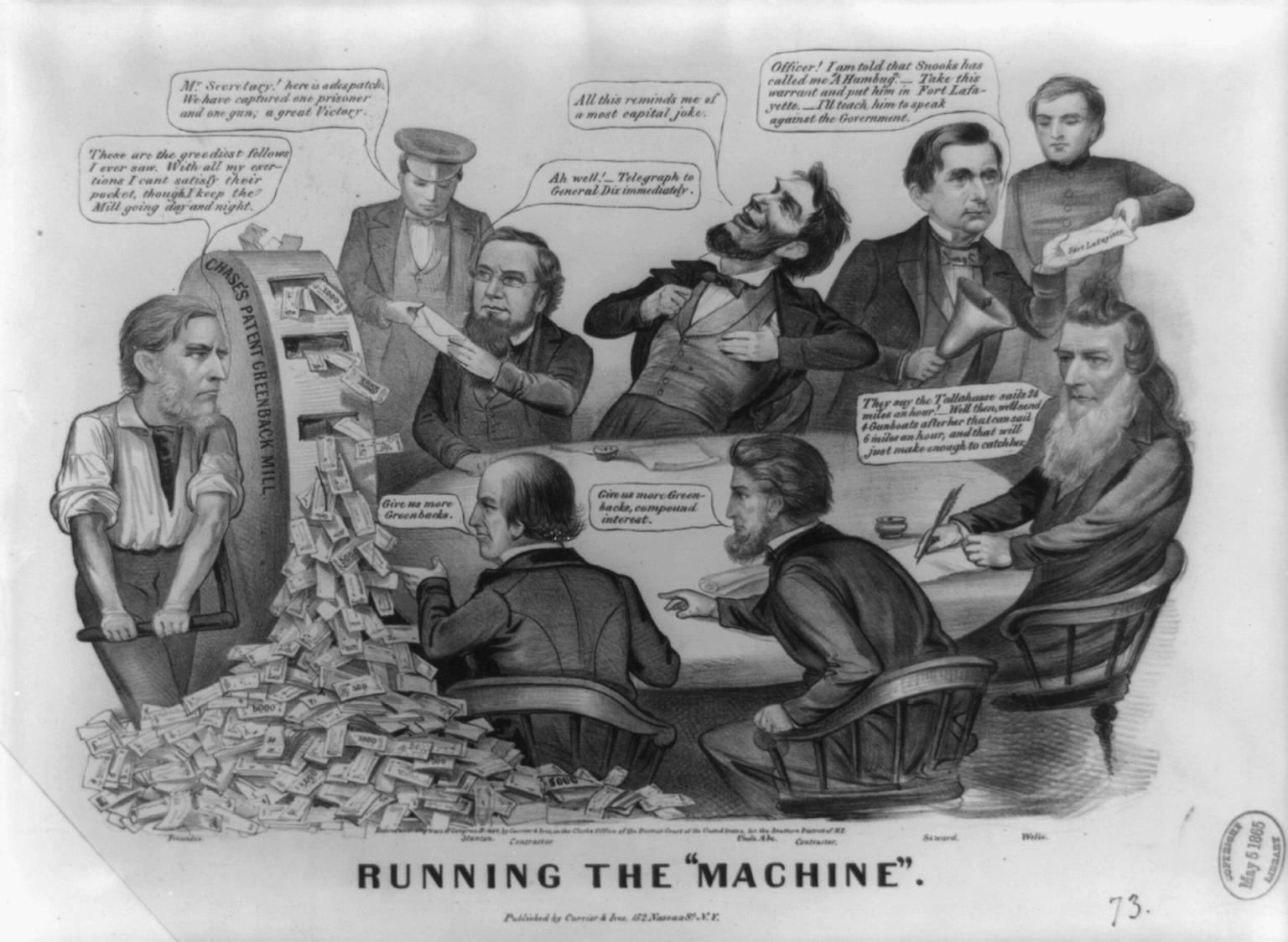 """Running the Machine"" 1864 Abraham Lincoln political cartoon."