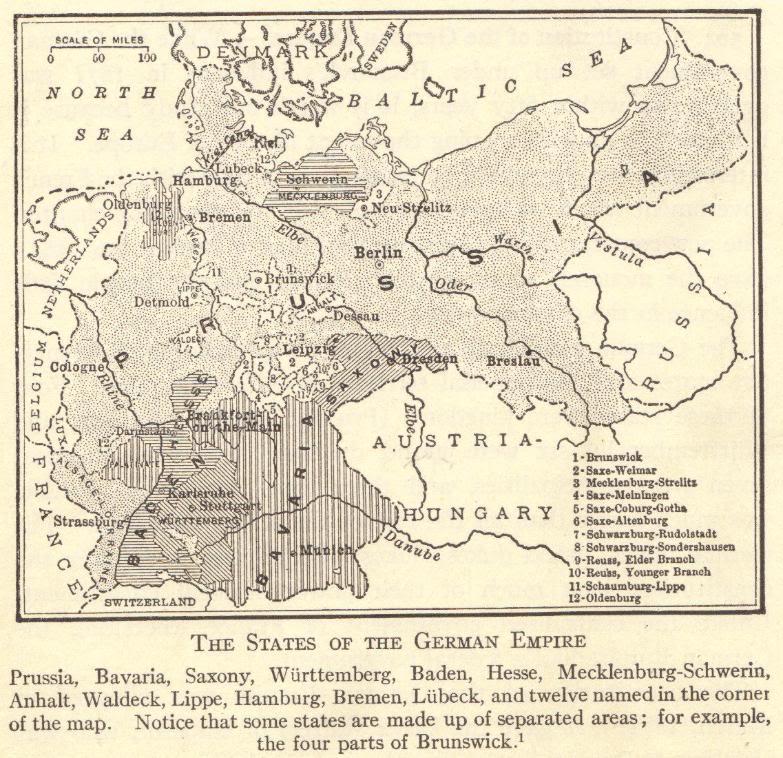 Map of the states of the German empire.  Prussia, Bavaria, Saxony, Wurttemberg, Baden, Hesse, Mecklenburg-Schwerin, Anhalt, Waldeck, Lippe, Hamburg, Bremen, Lubeck, Brunswick, Saxe-Weimar, Mecklenburg-Strelitz, Saxe-Meiningen, Saxe-Coburg-Gotha, Saxe-Altenburg, Schwarzburg-Rudolstadt, Schwarzburg-Sondershausen, Reuss-Elder Branch, Reuss-Younger Branch, Schaumburg-Lippe, and Oldenburg.