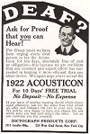 1922 Acousticon Advertisement by Dictograph Products