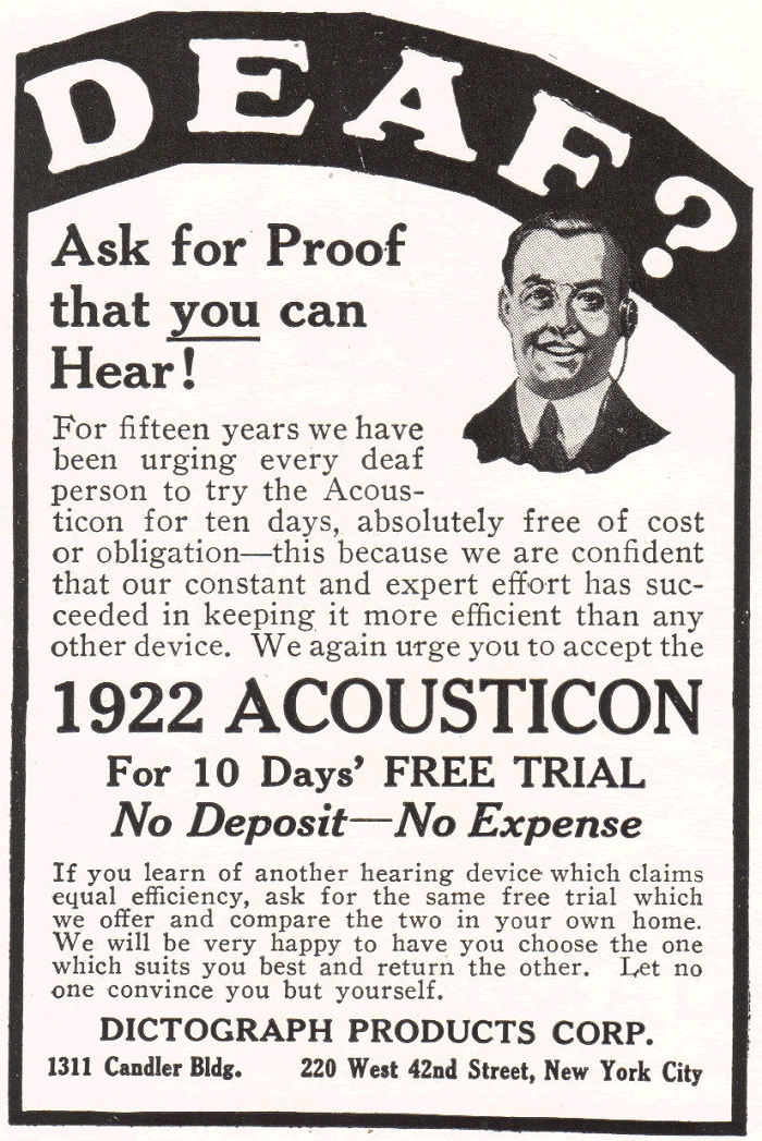 1922 Acousticon by Dictograph Products Ad