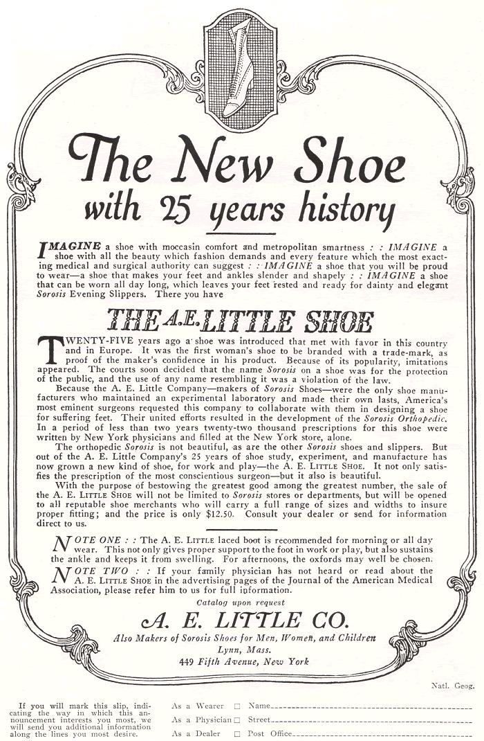 A.E. Little Shoe Company Ad of 1922