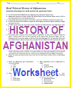 Afghanistan History Fact Worksheet with Questions