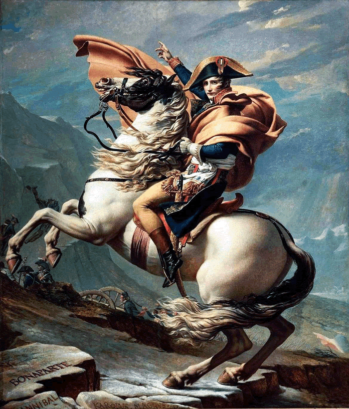 Napoleon Crossing the Alps by Jacques-Louis David (1801)