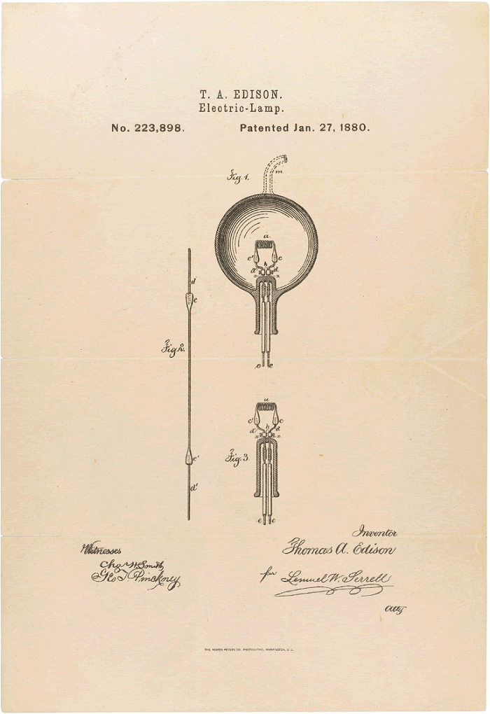 Thomas Edison's Electric Light Bulb Patent (1880)