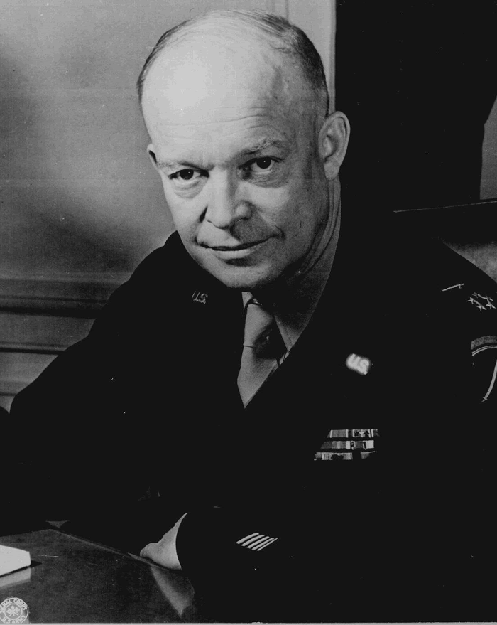 General Dwight D. Eisenhower, Supreme Allied Commander, at his headquarters in the European theater of operations. He wears the five-star cluster of the newly-created rank of General of the Army.