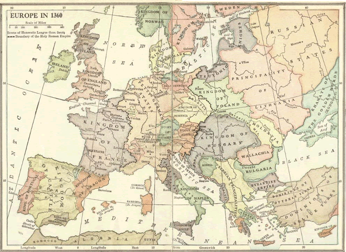 Hanseatic League Map, 1360