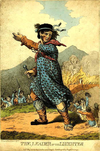 King Ned Ludd, Leader of the Luddites - 1812 Engraving