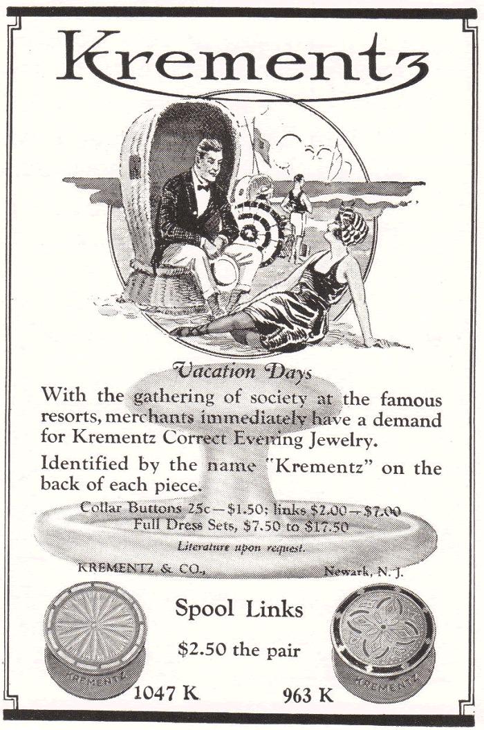 Krementz & Co., Newark, New Jersey - 1922 Advertisement