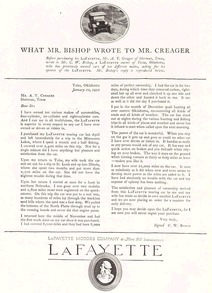Antique Lafayette Motors Company Ad from 1922