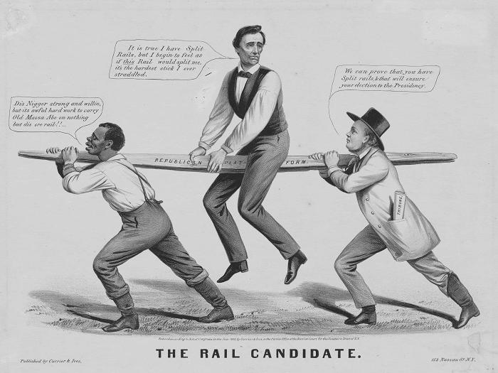 """1860 """"Rail Candidate"""" Abraham Lincoln Political Cartoon"""