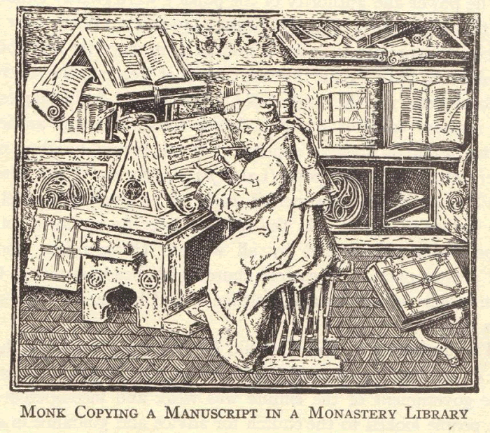 Medieval Monk Copying a Manuscript in a Monastery Library