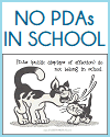 No PDAs in School Classroom Sign