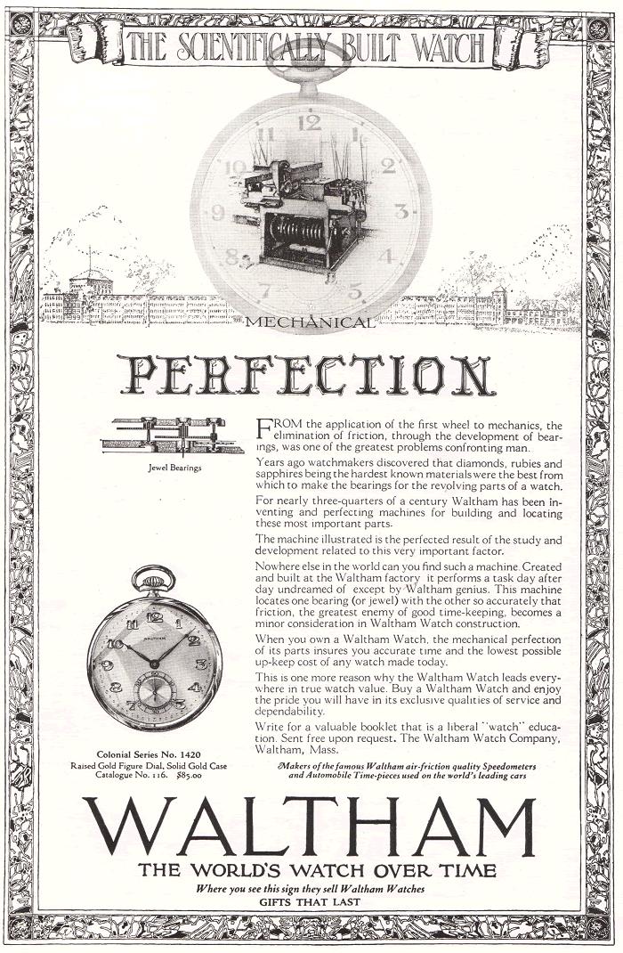 Waltham Watch Company Ad, 1922