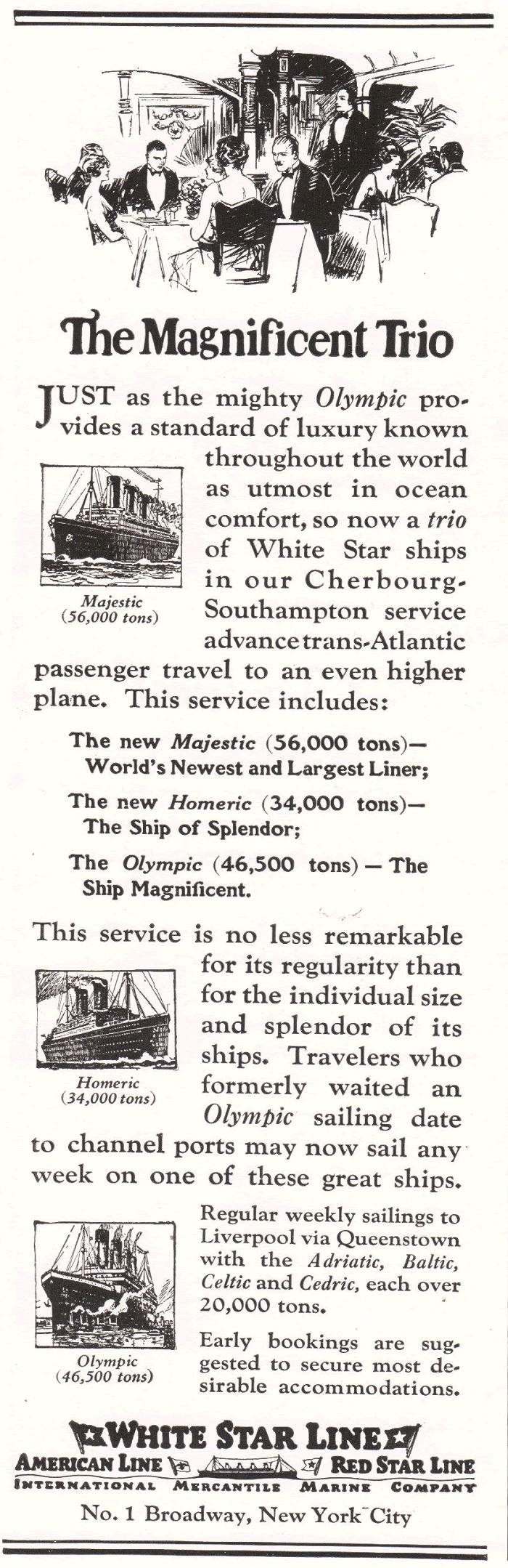 White Star Line Advertisement of 1922