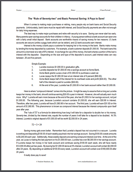 Rule Of 72 Economics Worksheet Student Handouts
