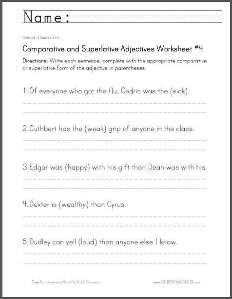Comparative and Superlative Adjectives Worksheet #4