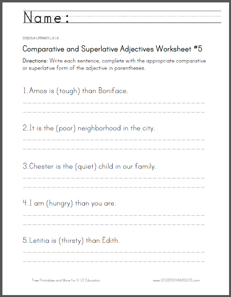 Comparative and Superlative Adjectives Worksheet #5 - For third grade. Free to print (PDF file).