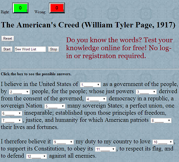 The American's Creed (William Tyler Page, 1917) Gap Text Interactive Quiz Game