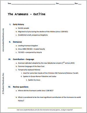 The Ancient Arameans Outline - Free to print (PDF file).