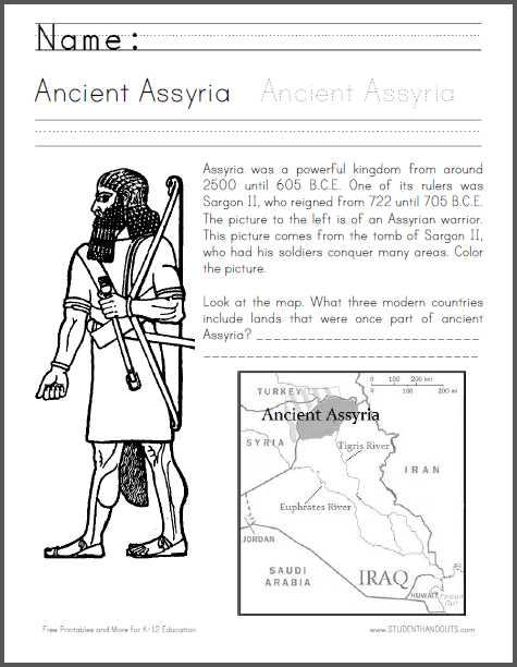 Ancient Assyria Informational Text Worksheet with Coloring and Map Work