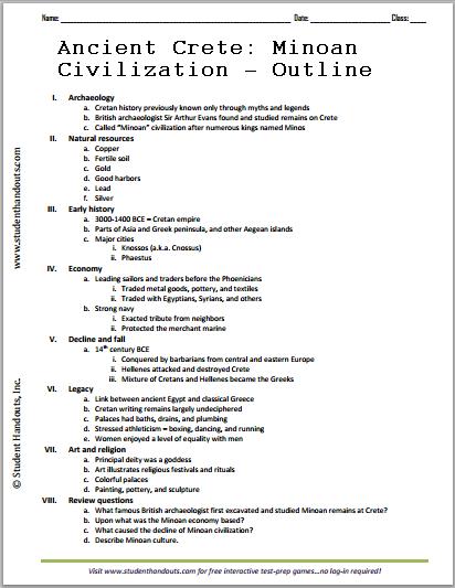 Ancient Crete/Minoan Civilization History Outline - Free to print (PDF file).