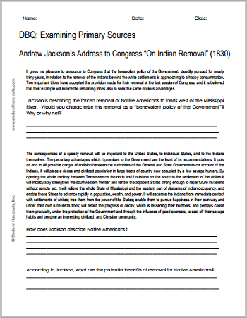"DBQ Worksheet on Andrew Jackson's Address to Congress ""On Indian Removal"" (1830)"