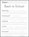 Back to School Handwriting Practice Worksheet