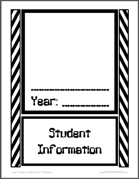 Black-and-White Chevron Pattern Student Information Binder Cover - Free to print (PDF file).