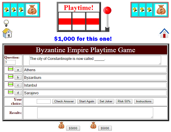 Byzantine Empire Playtime Quiz Game - This fun learning game is designed for two players or two teams.