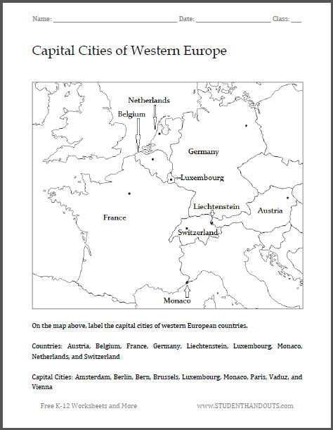 Capital Cities Of Western Europe Map Worksheet