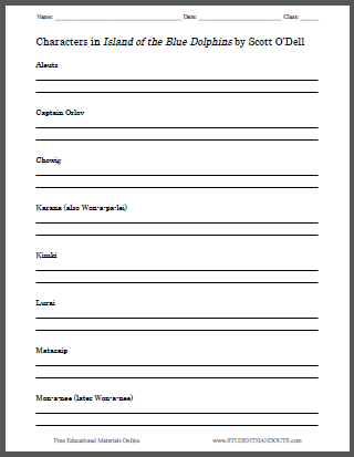 Island of the Blue Dolphins Free Printable Worksheets