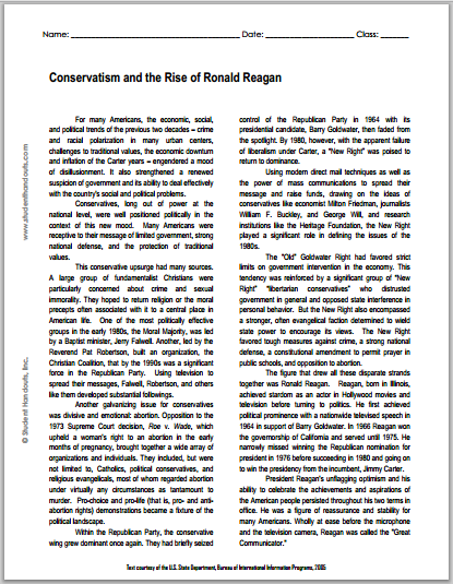 Conservatism and the Rise of Ronald Reagan - Free printable reading with questions for high school United States History students.