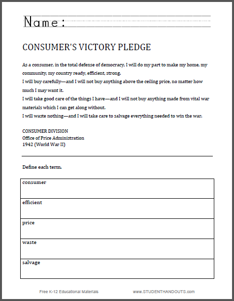 Student Handouts Worksheets : Consumer s victory pledge world war ii worksheet free