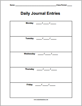 daily journal sheets student handouts
