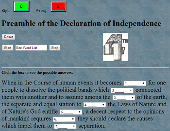 Gap Text Quiz Game on the Preamble to the Declaration of Independence