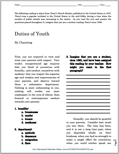 Duties of Youth (1857), DBQ - Primary source reading with questions is free to print (PDF file).