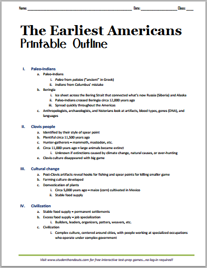"""The Earliest Americans"" - Free printable outline (PDF) for high school American History students."