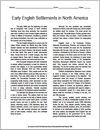 """""""Early English Settlements in North America"""" Reading with Questions for High School United States History Students"""