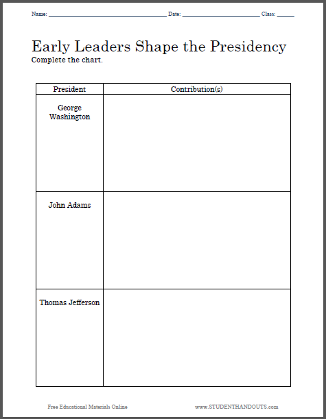 Early Presidents Chart Worksheet - Free to print (PDF file) for United States History students.
