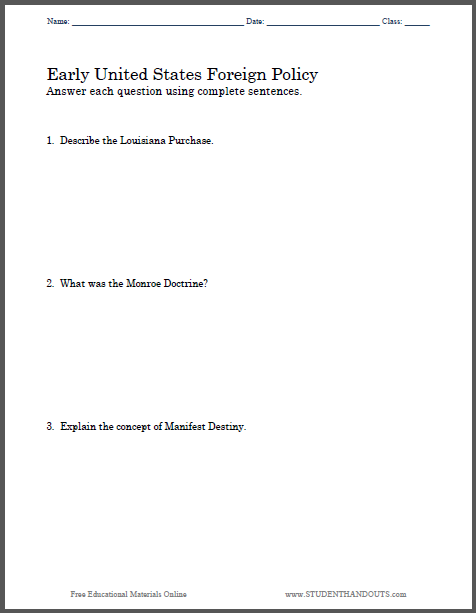 Early U.S. Foreign Policy Essay Questions - Free to print (PDF file) for high school United States History students.