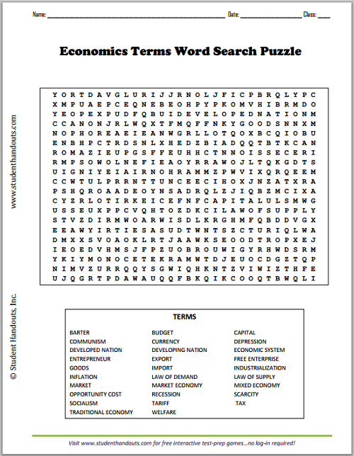 Economics Terms Word Search Puzzle - Worksheet is free to print (PDF file).
