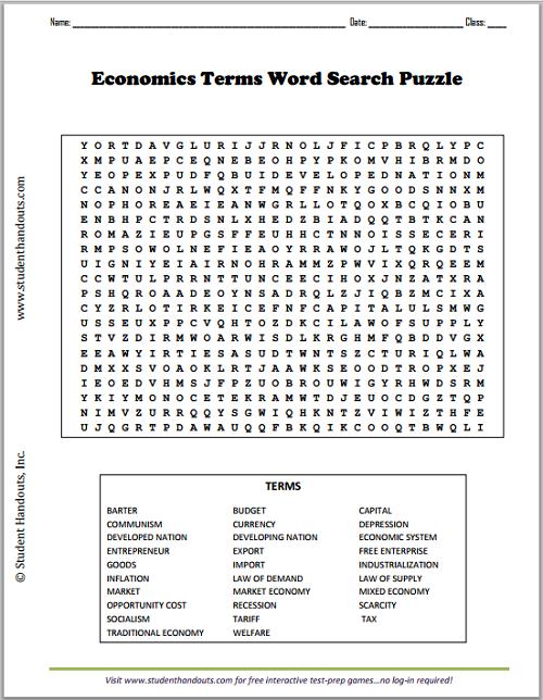 economics terms word search puzzle student handouts. Black Bedroom Furniture Sets. Home Design Ideas