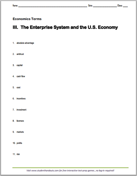 Enterprise System Vocabulary - Terms worksheet is free to print (PDF file). For high school Economics students.