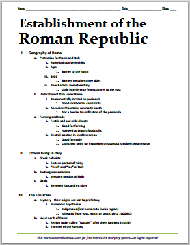 establishment of the roman republic free printable outline. Black Bedroom Furniture Sets. Home Design Ideas