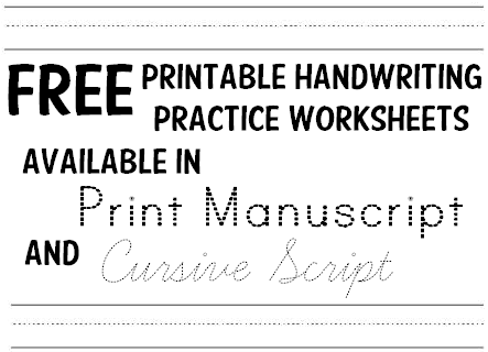 Handwriting Practice Worksheets - 1000s of Free Printables ...