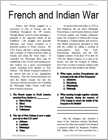 The French and Indian War - Free printable reading with questions for high school United States History students.