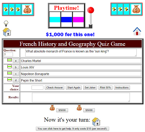 French History and Geography Playtime Quiz Game