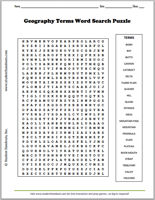 Geography Terms Word Search Puzzle - Free to print (PDF file).